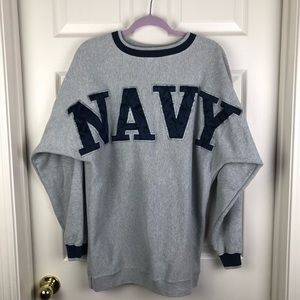 US Navy Gray Blue Spell Out Spirit Crew Sweatshirt